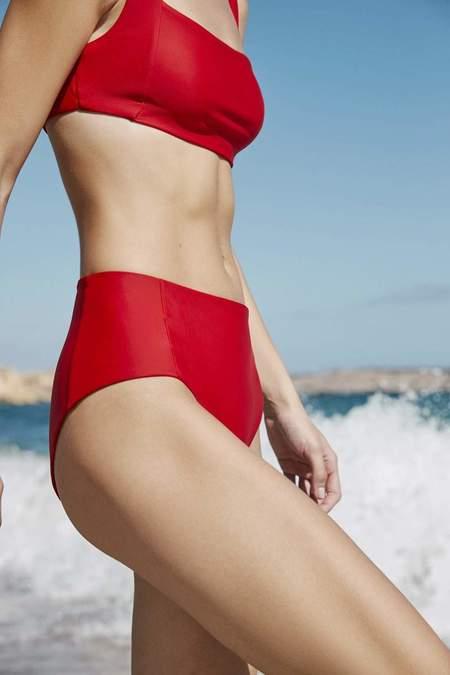 Kowtow Lines high waist brief - red