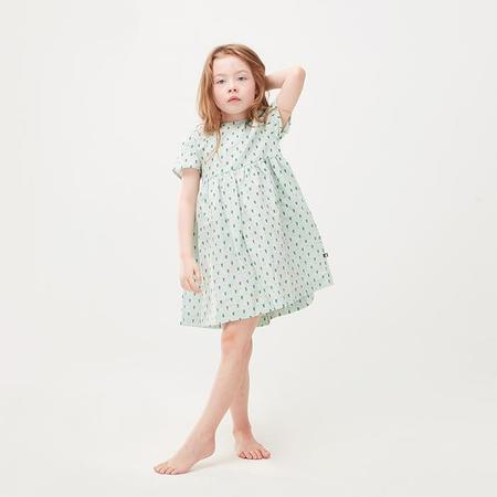 kids Oeuf Baby And Child Short Sleeved Dress - Green Leek Print