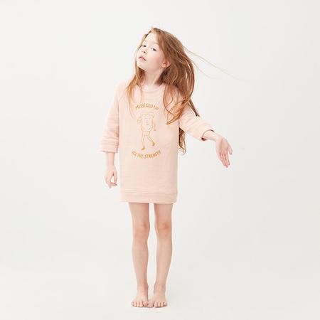 kids Oeuf NYC Child Mustard Up Sweatshirt Dress - Light Pink