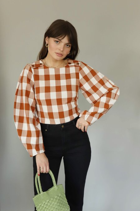 Style Mafia Balloon Sleeve Top - Brown Gingham