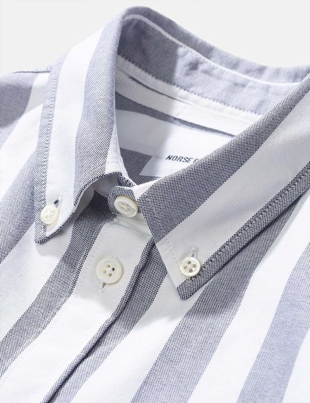 Norse Projects Anton Wide Stripe Oxford Shirt - Navy Blue