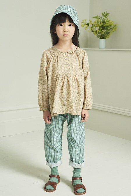 Kids Caramel Victoria Blouse - Green Polka Dot