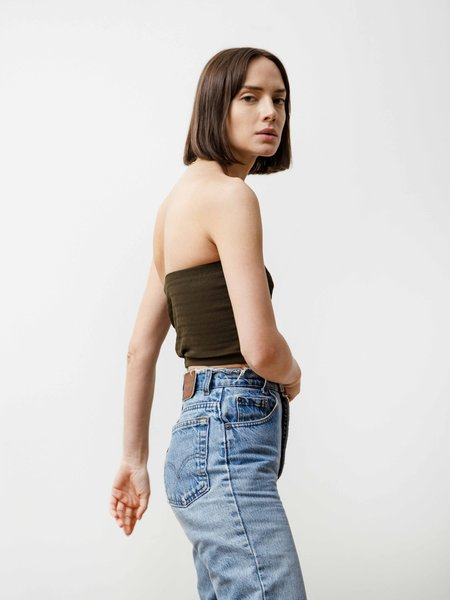 Priory tube top in pleated chiffon - army green