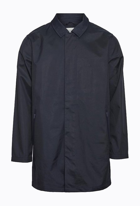 Knowledge Cotton BEECH Long Carcoat Jacket - Total Eclipse