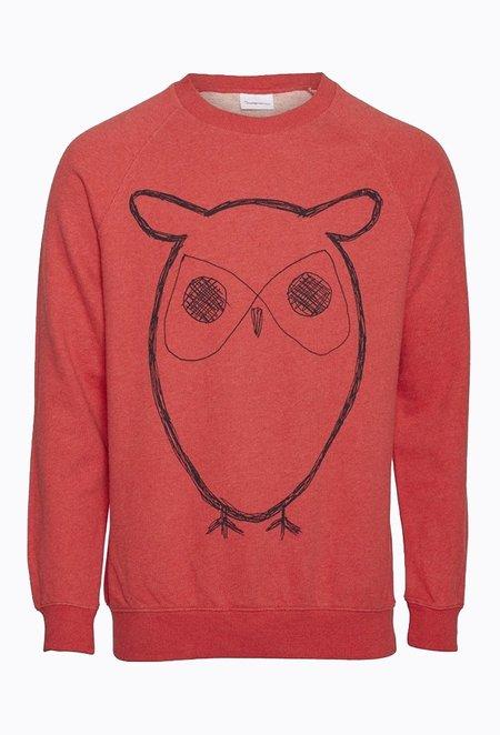 Knowledge Cotton ELM Big Owl Sweat - Scarlet Melange