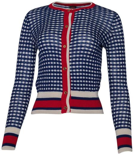 Happy Sheep Cardigan - Navy/Red