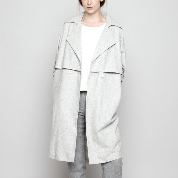 7115 by Szeki Wool Trench Coat - Light Gray FW16