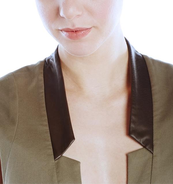 Vincetta Olive Notch Collar Vest