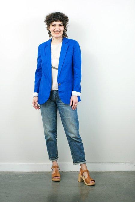 Corey Lynn Calter Lou Linen Blazer - Royal Blue