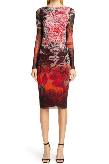 Fuzzi gradation ombre floral fitted dress - red