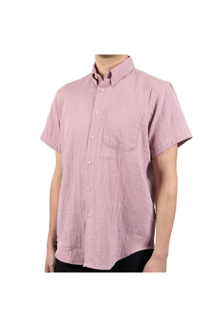 NAKED & FAMOUS Short Sleeve Easy Double Weave Shirt - Blush