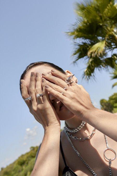 Joomi Lim Double Finger Spike Ring - Rhodium