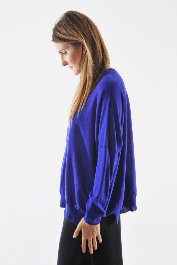 Oyuna Knitted Purple Wool and Silk Pullover by Oyuna