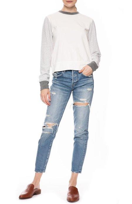 Monrow Stripe Sleeve Sweatshirt - NATURAL
