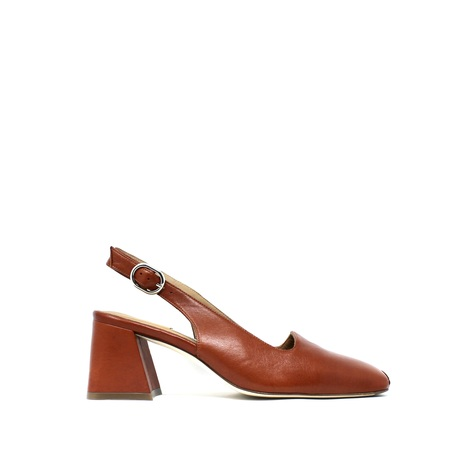 Miista Canar Leather Heels - Brick Brown