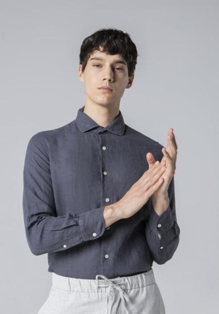 unfeigned longsleeve linen shirt - dark grey