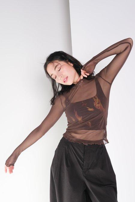 Priscavera Long Sleeve Mesh Top - Dark Cherry