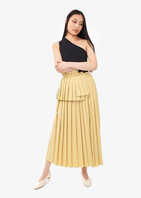 WNDERKAMMER Long Pleats Skirt - Off-yellow