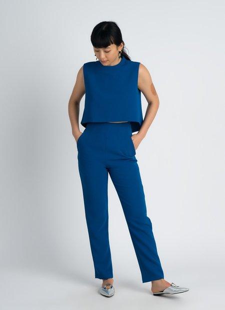 KAAREM Wind Chime Raised Collar Cropped Top - Blue