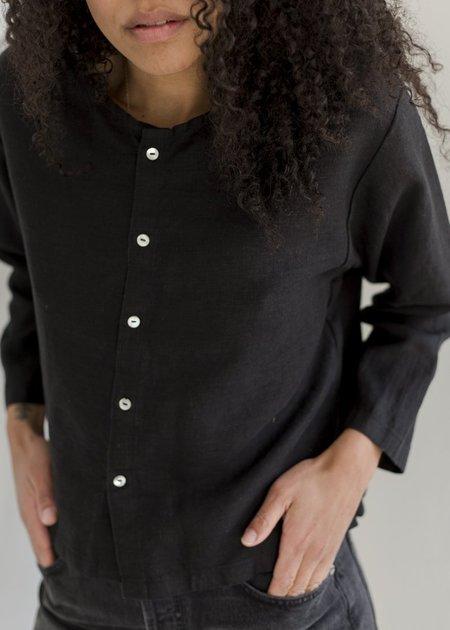 Bees & Bones Long Sleeve Blythe Top - Black Linen