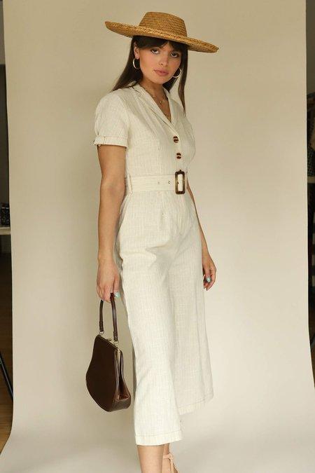 Moon River Ivory Collar Linen Jumpsuit