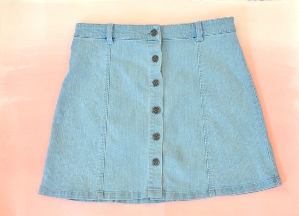 "Courtshop ""Eileen"" A-Line Button Front Mini Denim skirt"
