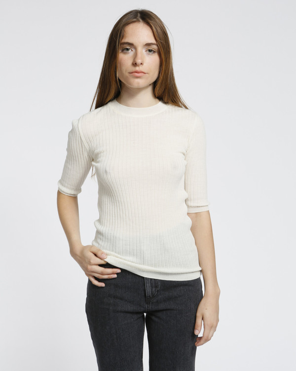 Achro Short Sleeved Ribbed Sweater in Ivory