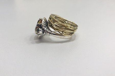 Angostura citrine and peridot stacked ring - Silver/Brass