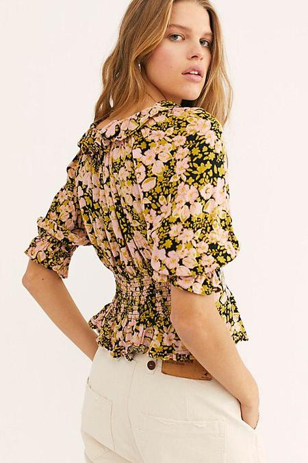 Free People Sweet Memories Blouse - Black Combo