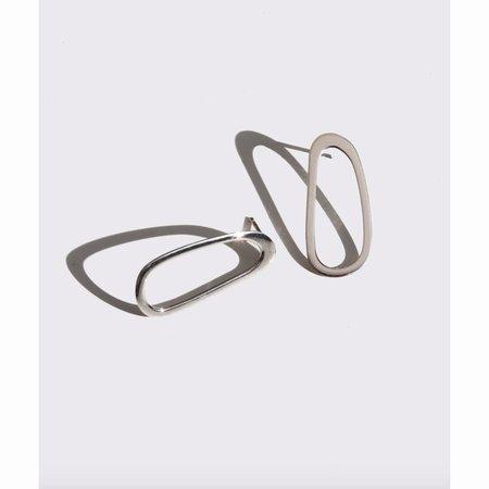 Modern Weaving oblong oval stud earrings - Sterling Silver