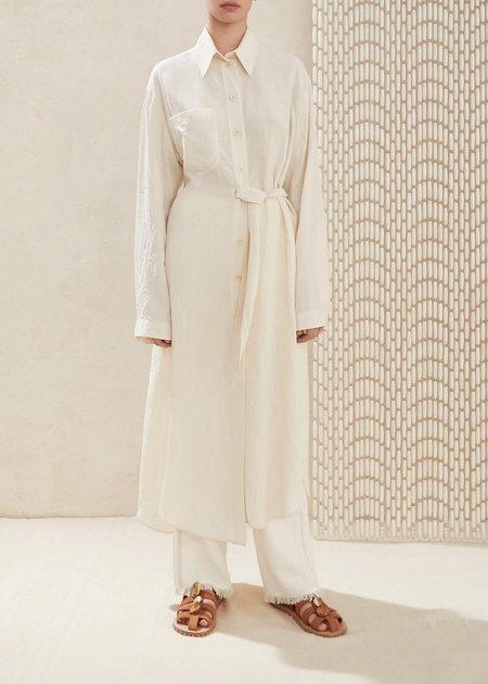 Nanushka Mona Twist Tie Asymmetric Shirt Dress - Creme