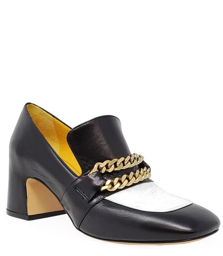 MARA BINI HEEL LOAFER - BLACK/WHITE