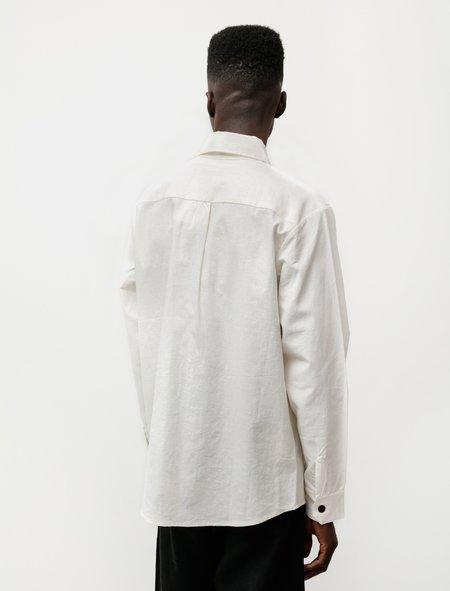 Evan Kinori Two Pocket Shirt in Organic Cotton Hemp - Natural
