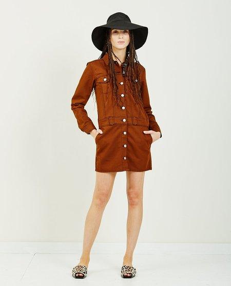Ganni Mixed Denim Shirt Dress - caramel