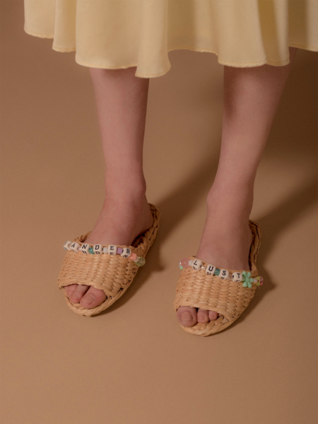 Wanderlust Straw Sandal Slippers - Lotus Pink