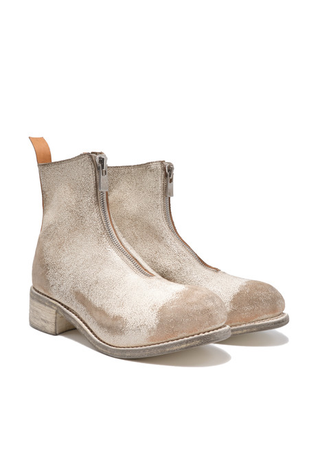 guidi pl1 front zip distressed white boots