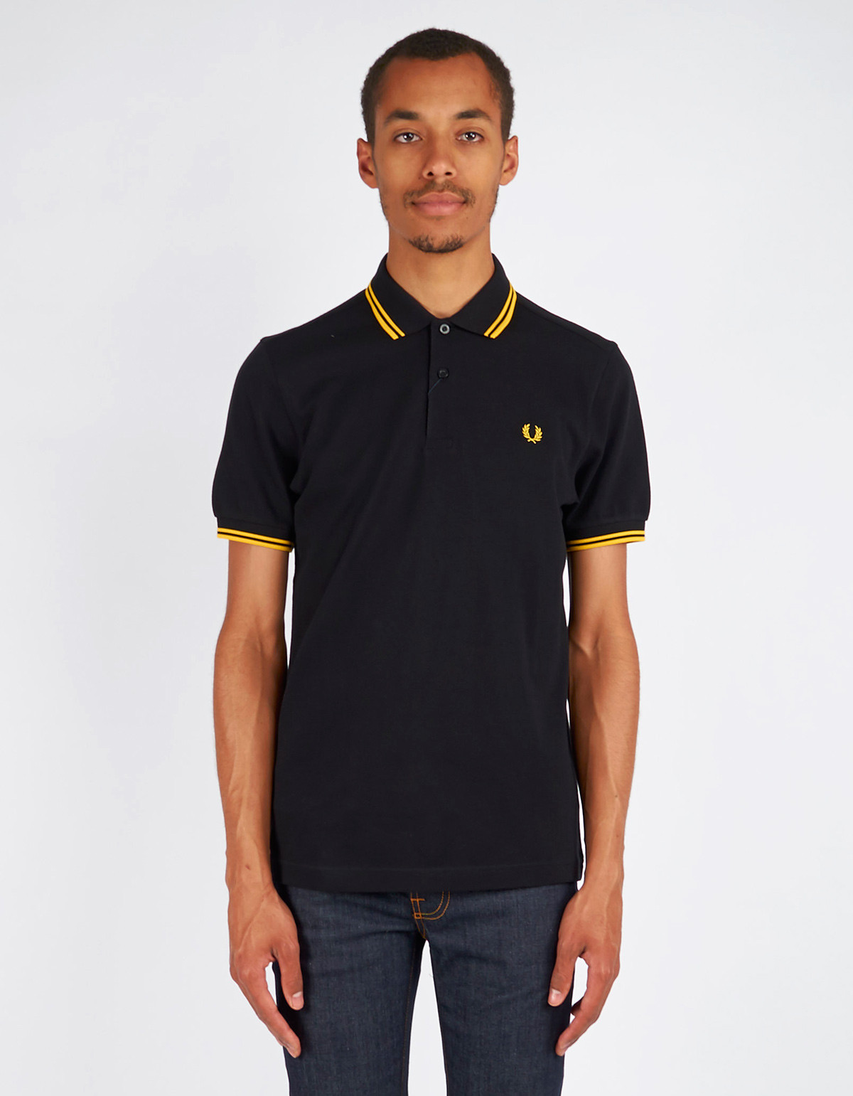men 39 s fred perry slim fit twin tipped polo black new yellow garmentory. Black Bedroom Furniture Sets. Home Design Ideas