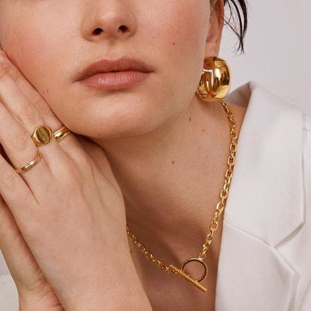 Lady Grey Dome Hoops - 14K Gold Plated Bronze