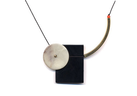 I. RONNI KAPPOS BAUHAUS BLACK ONYX RECTANGLE WITH ARC NECKLACE