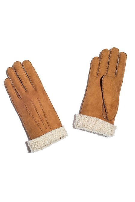 MAISON FABRE Curly Shearling Gloves - Chestnut