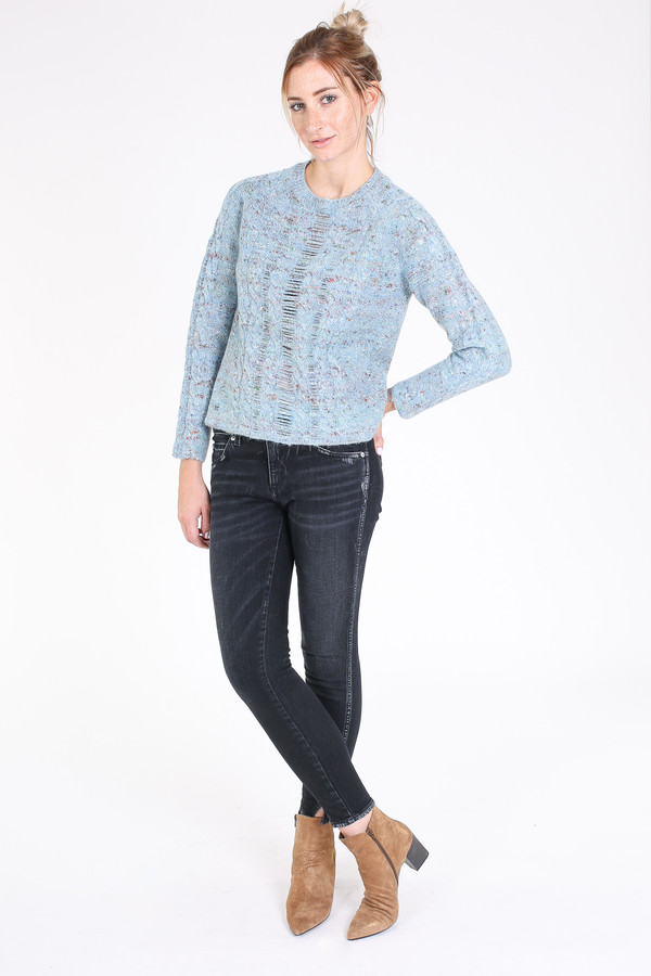 Raquel Allegra Cable knit pullover in french blue