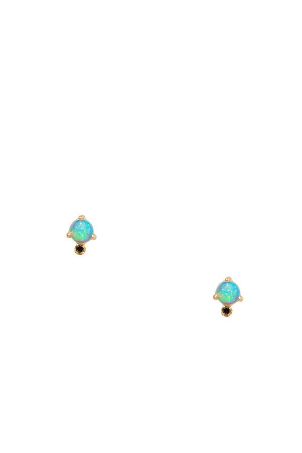 Wwake Classic opal and black diamond earrings