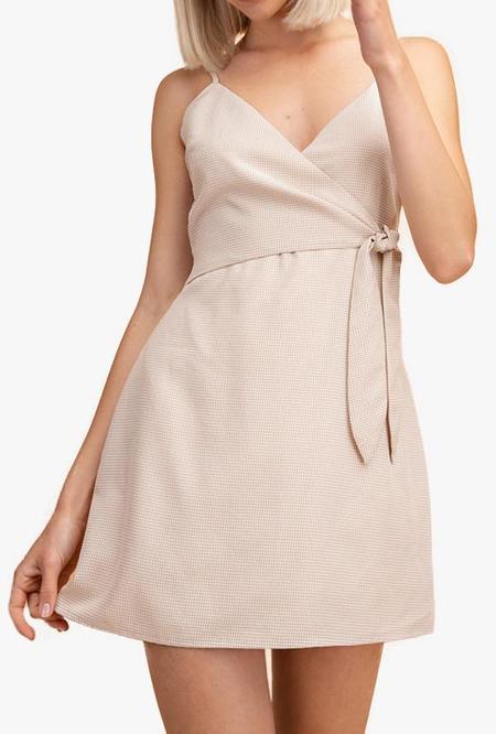 Azalea Mila Mini Gingham Wrap Dress - Tan