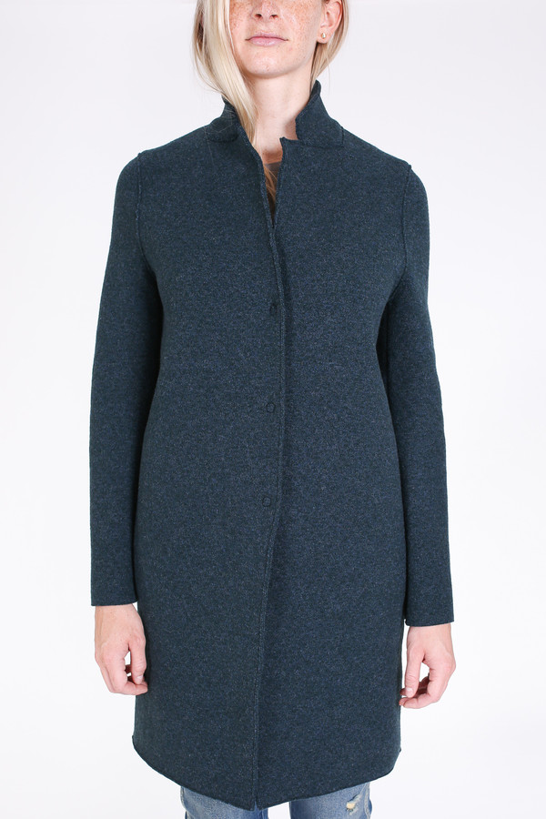 Harris Wharf London Cocoon coat in teal