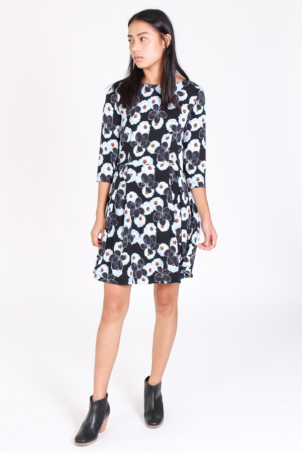 Suno Fit and flare dress in floral blue