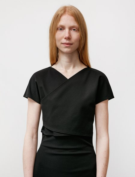 Dusan Stretch Wrap Top - Black