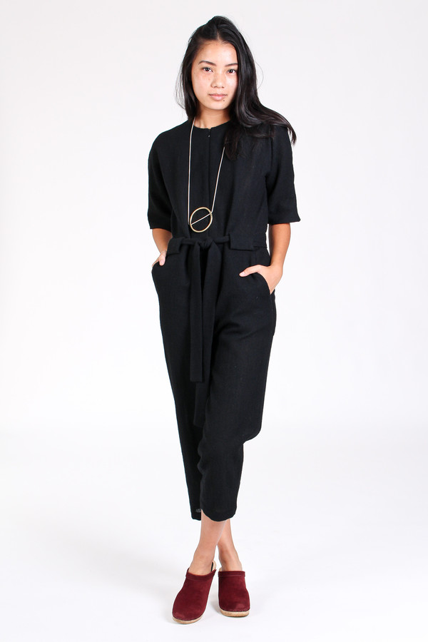 No.6 Store Mae front zip jumpsuit in black