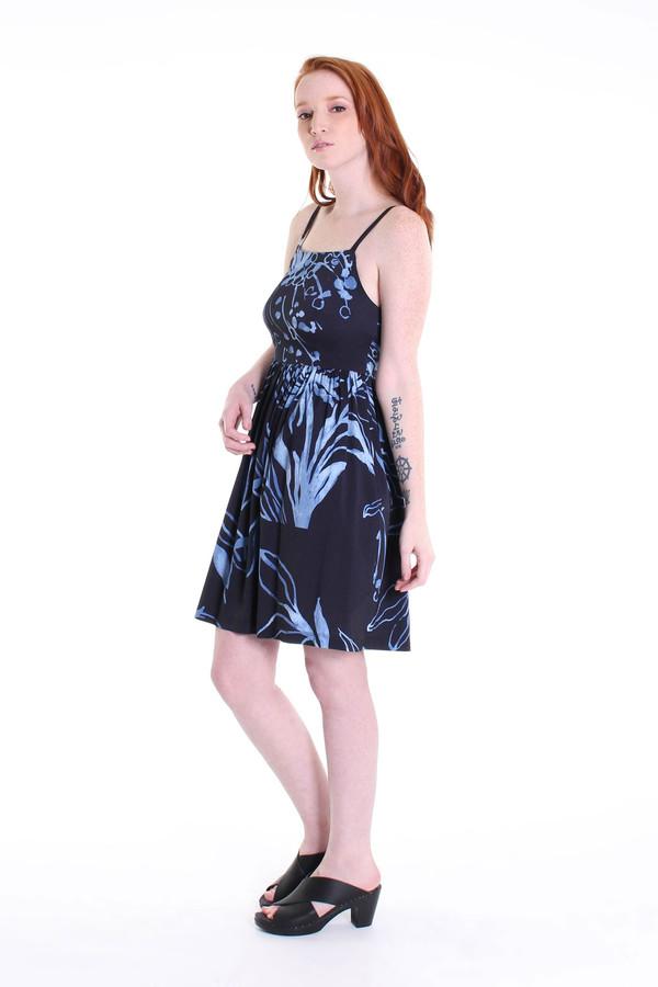 Suno Shirred waist tank dress in black floral