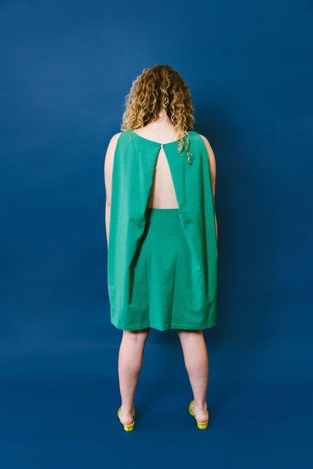 KAAREM boatneck open back dress - sea green