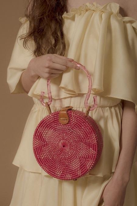 Folk Fortune Acrylic Rattan Bag - Pink